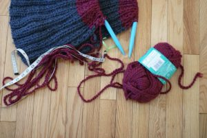 fabric tape measure with knitting project