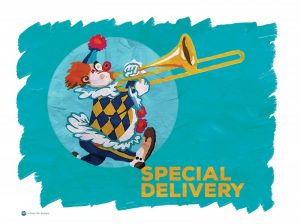 image of a clown playing a trombone, walking out of a circle with the words Special Delivery under